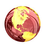 3d: Red Glassy Earth Globe View of North America Stock Photos
