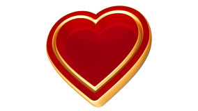 3d red golden love heart, valentines day, wedding animation, alpha matte stock video