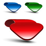 3d red, green and blue arrow on white background. Simple arrow buttons. Web link or pointer. Symbol of next, read more, play, go e Stock Photos