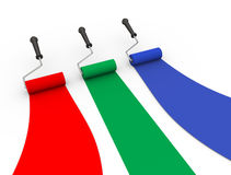 3d red green blue color roller brush. 3d illustration of rgb color red green blue roller brush Royalty Free Stock Photo
