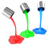 3d red, green, blue paint pouring from buckets. On white background Stock Photos