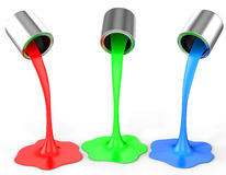3d red, green, blue paint pouring from buckets. On white background Royalty Free Stock Photo