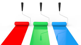 3d red green and blue paint rollers Royalty Free Stock Photo