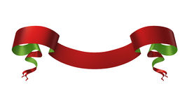 3d red green medieval ribbon placard, Christmas banner label isolated on white Stock Images