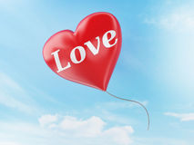 3d red heart balloons. valentine's day concept in the blue sky. 3d renderer illustration. red heart balloons with love text. valentine's day concept in the blue Royalty Free Stock Image