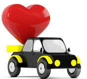 3D red heart in a black car. On a white background Stock Images