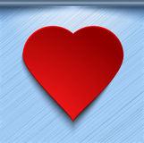 3d red heart on blue background Stock Image