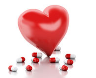 3d red heart with capsule. Love concept Stock Photography