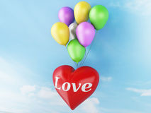 3d red heart and colorful balloons. valentine's day concept in t Royalty Free Stock Photo