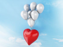 3d red heart and colorful balloons. valentine's day concept in t Stock Images