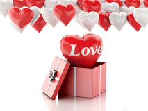 3d red heart in a gift box and Heart balloons. Valentines Day co Royalty Free Stock Photo