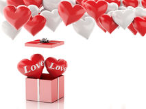3d red heart in a gift box and Heart balloons. Valentines Day co Royalty Free Stock Images