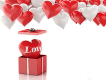 3d red heart in a gift box and Heart balloons. Valentines Day co Royalty Free Stock Photography