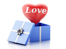 3d red heart in a gift box. Valentines Day concept. Royalty Free Stock Images