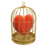 3d Red heart in a golden birdcage Royalty Free Stock Images