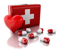 3d red heart, pills and First Aid Kit. Royalty Free Stock Photo