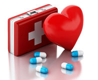 3d red heart, pills and First Aid Kit. Royalty Free Stock Photography