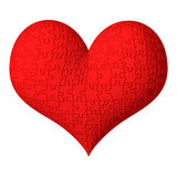 3D red heart with puzzle texture Stock Photos