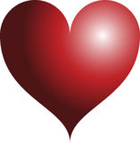 3D red heart. 3D reflected glossy shiny red heart Stock Image