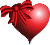 3D red heart with ribbon. 3D red heart with red bow pinned on the top Royalty Free Stock Images