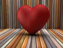 3d red heart shape in wooden room Royalty Free Stock Images