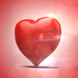 3d red heart, valentines day concept. On red background Royalty Free Stock Photo