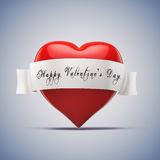 3d red heart, valentines day concept. On blue background Stock Image