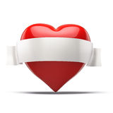 3d red heart, valentines day concept. On white background Stock Photos