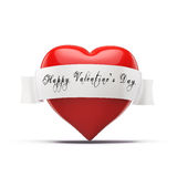 3d red heart, valentines day concept. On white background Stock Photography