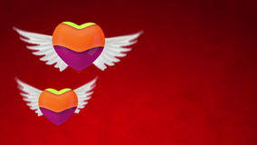 3d red heart with wings Stock Images