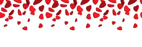 3d red hearts falling from above. Vector seamless top border of red hearts isolated on white background. vector illustration