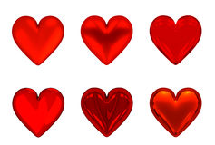 3D Red Hearts - Isolated. 3D Red Hearts (6) - Isolated on White or Transparent Background Stock Photos