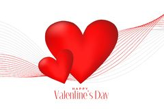 3d red hearts with line wave valentines day background. Vector stock illustration