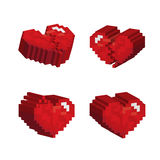 3D red hearts pixel art stlye. On white background Stock Images