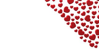 3D red Hearts Shapes form on a white background in corner. Style Stock Images