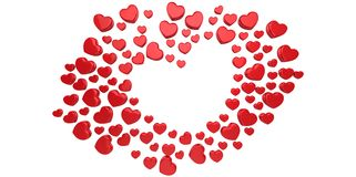 3D red Hearts Shapes form on a white gray background. Style Royalty Free Stock Images