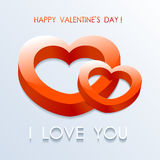3d red hearts. Valentines Day 3d red hearts: greeting card Stock Photography