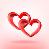 3D red hearts. Stock Photo