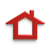 3D Red House Logo. Glossy and shinny Royalty Free Stock Image