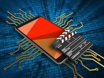 3d red. 3d illustration of mobile phone over digital background with electronic circuit and cinema clap Stock Photo
