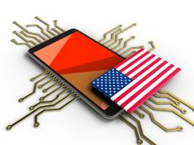 3d red. 3d illustration of mobile phone over white background with electronic circuit and USA flag Royalty Free Stock Images