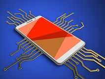3d red. 3d illustration of white phone over blue background with electronic circuit and Stock Photo