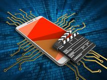 3d red. 3d illustration of white phone over digital background with electronic circuit and cinema clap Stock Photo
