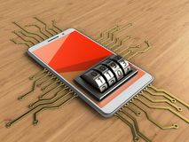 3d red. 3d illustration of white phone over wooden background with electronic circuit and lock dial Stock Photos