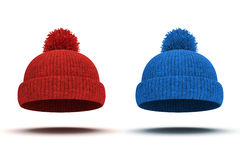 3d red knitted winter cap Stock Photos
