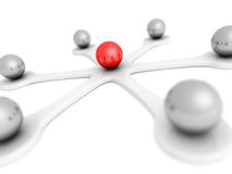 3d red leader sphere of network. leadership communication concep Royalty Free Stock Photos