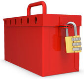 3d red locked box with golden padlock Stock Photography