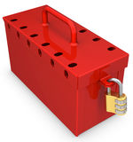3d red locked box with golden padlock Stock Images