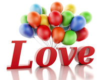3d red love heart and balloons. Valentine's day concept  Stock Photography