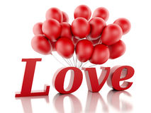 3d red love heart and balloons. Valentine's day concept  Royalty Free Stock Photos
